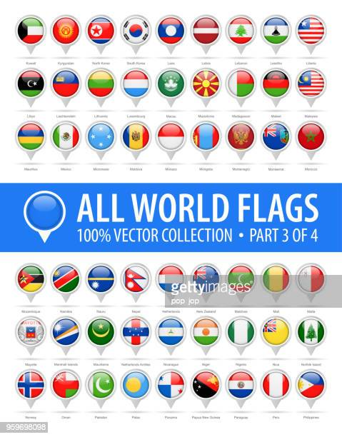 world flag round pins - vector glossy icons - part 3 of 4 - macao stock illustrations