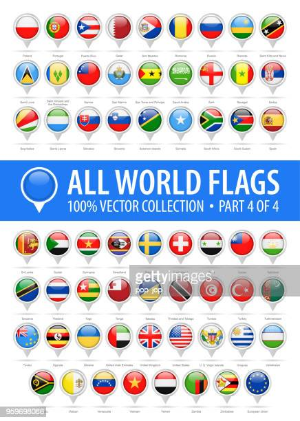 world flag round pins - vector glossy icons - part 4 of 4 - machine part stock illustrations
