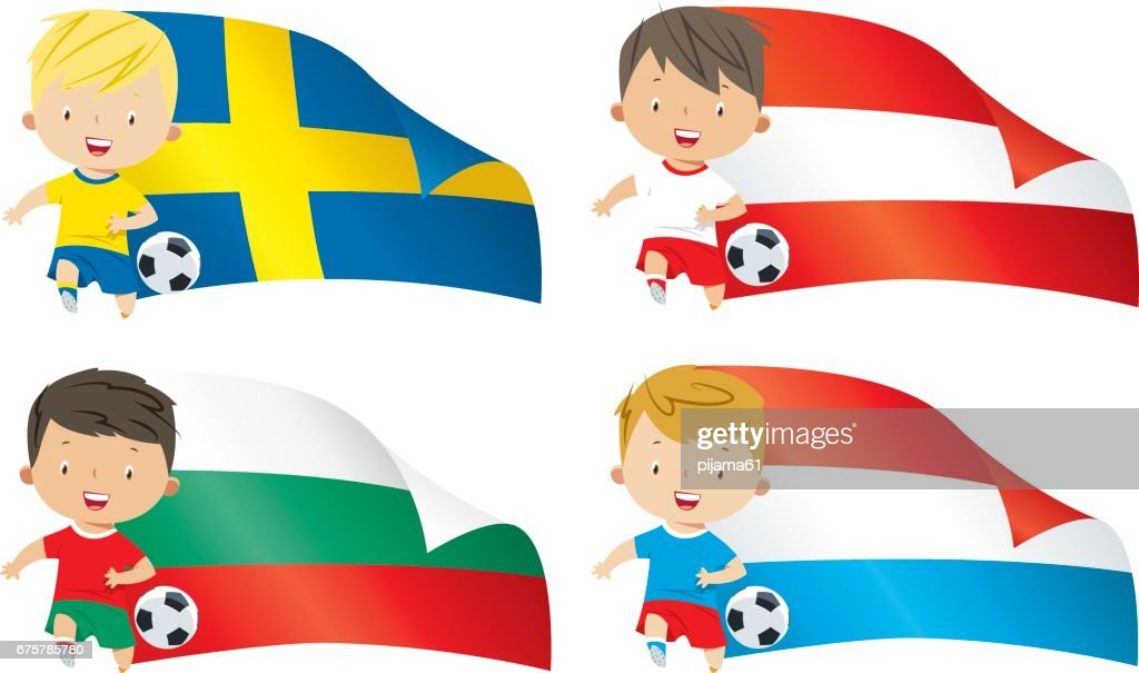 World flags and children soccer : stock illustration