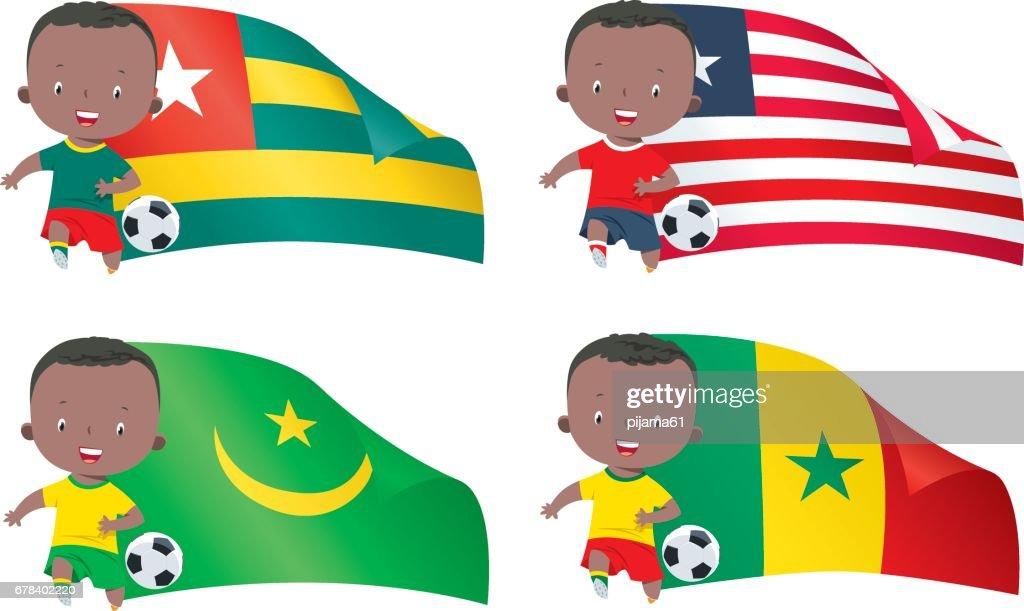 World flags and children soccer : stock illustration