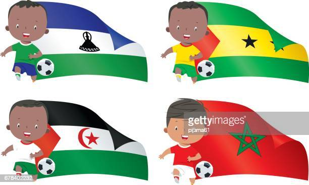 world flags and children soccer - morocco stock illustrations, clip art, cartoons, & icons