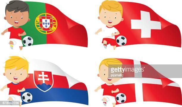 ilustrações, clipart, desenhos animados e ícones de futebol de bandeiras e crianças do mundo - cultura portuguesa
