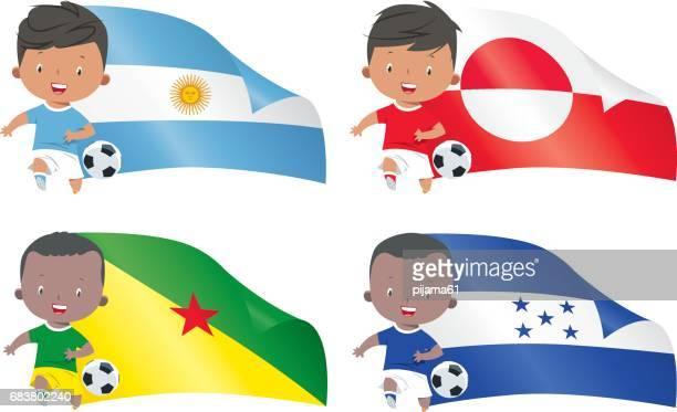 ilustraciones, imágenes clip art, dibujos animados e iconos de stock de mundo banderas y niños fútbol - bandera argentina