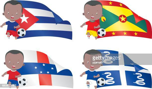 world flags and children soccer - martinique stock illustrations