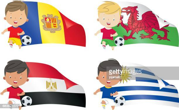 world flags and children soccer - wales stock illustrations