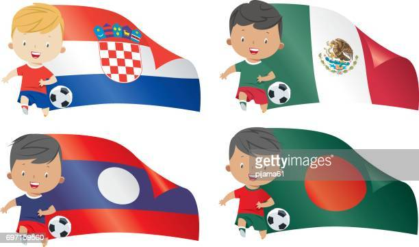 world flags and children soccer - croatian flag stock illustrations, clip art, cartoons, & icons