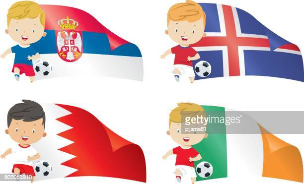 world flags and children soccer - bahrain stock illustrations, clip art, cartoons, & icons