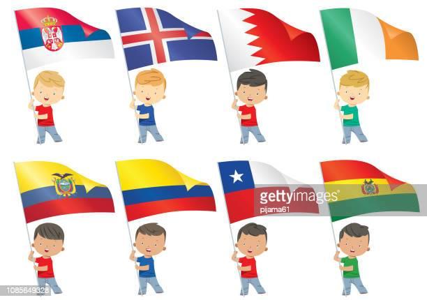illustrazioni stock, clip art, cartoni animati e icone di tendenza di bandiere mondiali e bambini - bandiera del cile