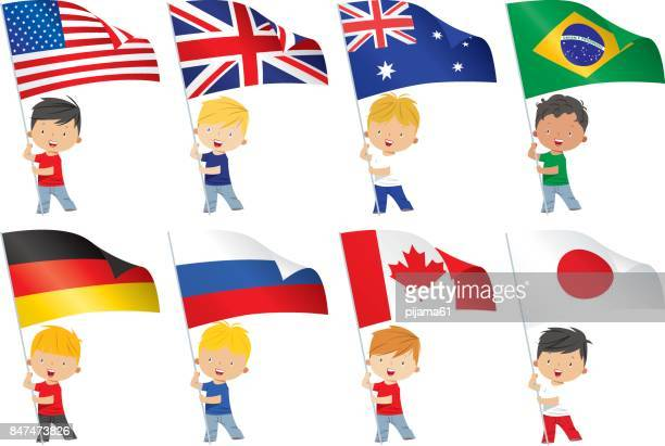 world flags and children - clip art stock illustrations, clip art, cartoons, & icons