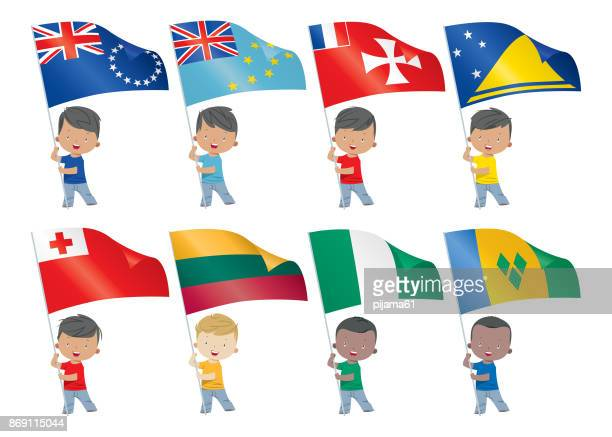 world flags and children - french overseas territory stock illustrations