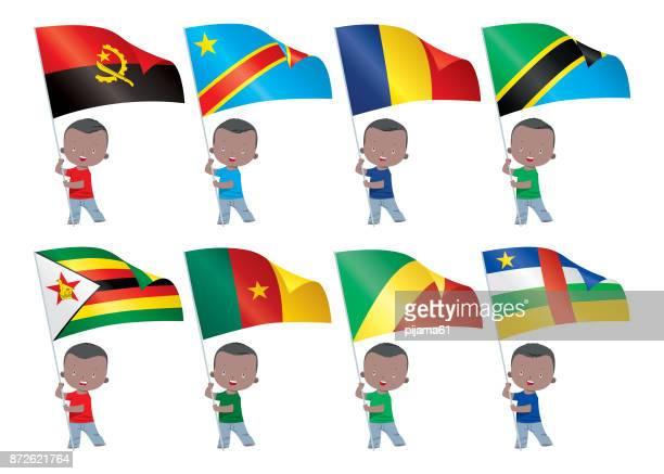 ilustrações, clipart, desenhos animados e ícones de crianças e bandeiras do mundo - zimbabwe