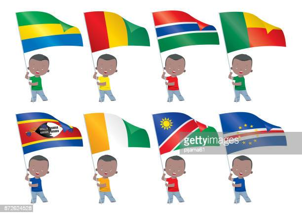 world flags and children - eswatini stock illustrations, clip art, cartoons, & icons