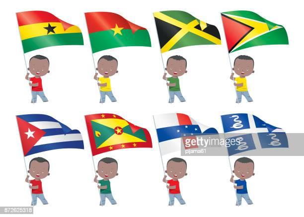 ilustrações, clipart, desenhos animados e ícones de crianças e bandeiras do mundo - gana