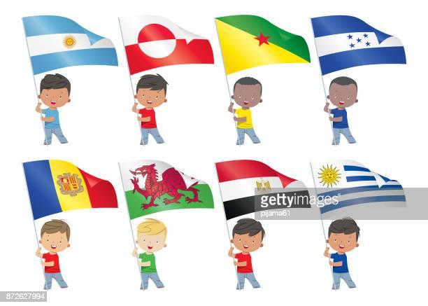 ilustraciones, imágenes clip art, dibujos animados e iconos de stock de los niños y banderas del mundo - bandera argentina