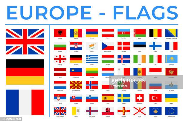 world flags - europe - vector rectangle flat icons - all european flags stock illustrations