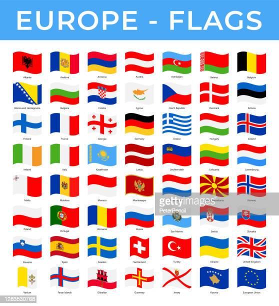 bildbanksillustrationer, clip art samt tecknat material och ikoner med världen flaggor - europa - vector rektangel wave platta ikoner - flagga