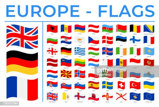 weltflaggen - europa - vektor rechteck welle flache symbole - polen stock-grafiken, -clipart, -cartoons und -symbole