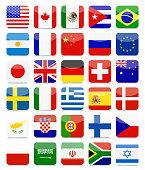 World Flags Flat Square Icon Set