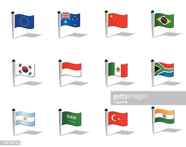 Mundo banderas: Los países del G20 (sin G8