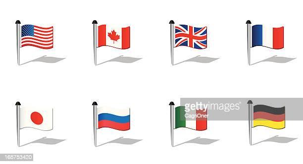 illustrations, cliparts, dessins animés et icônes de monde drapeaux: pays du g8 - angleterre