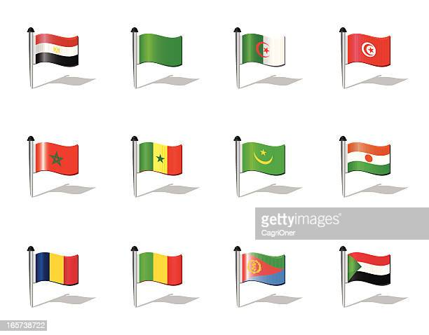 world flags: north africa - senegal stock illustrations, clip art, cartoons, & icons
