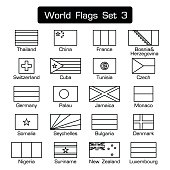 World flags set 3 . simple style and flat design . thick outline . black and white .