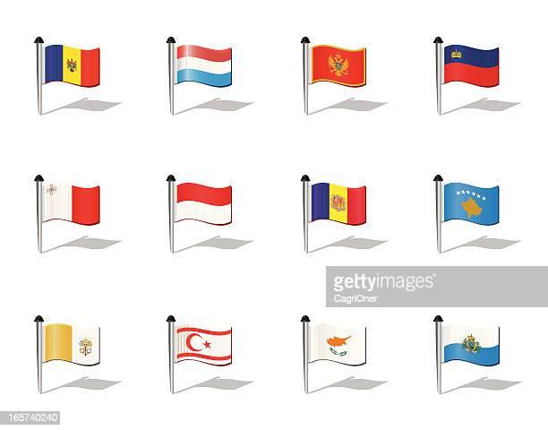 welt-flaggen: kleinere europäischen staaten - montenegro stock-grafiken, -clipart, -cartoons und -symbole