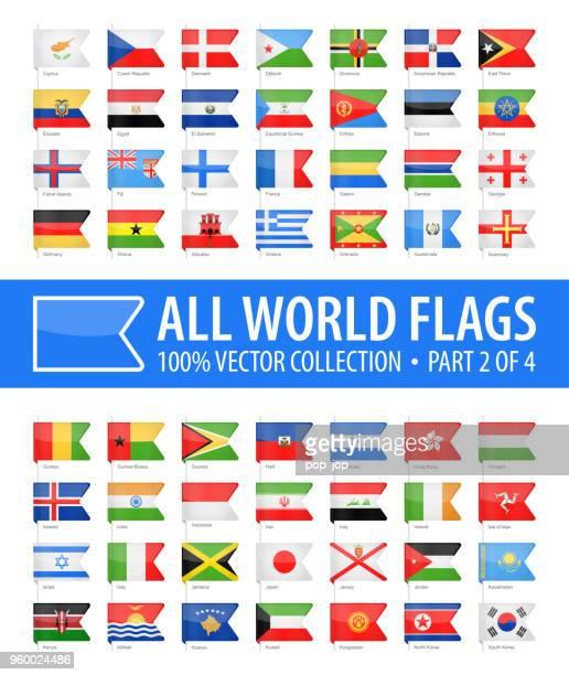 welt-flaggen - vektor lesezeichen glänzende symbole - teil 2 von 4 - flagge von georgien stock-grafiken, -clipart, -cartoons und -symbole