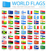 World Flags - Vector Bookmark Label Tag Flat Icons - Part 2 of 4