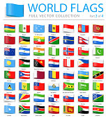 World Flags - Vector Bookmark Label Tag Flat Icons - Part 3 of 4