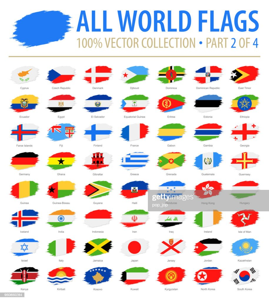 World Flags - Vector Brush Grunge Flat Icons - Part 2 of 4