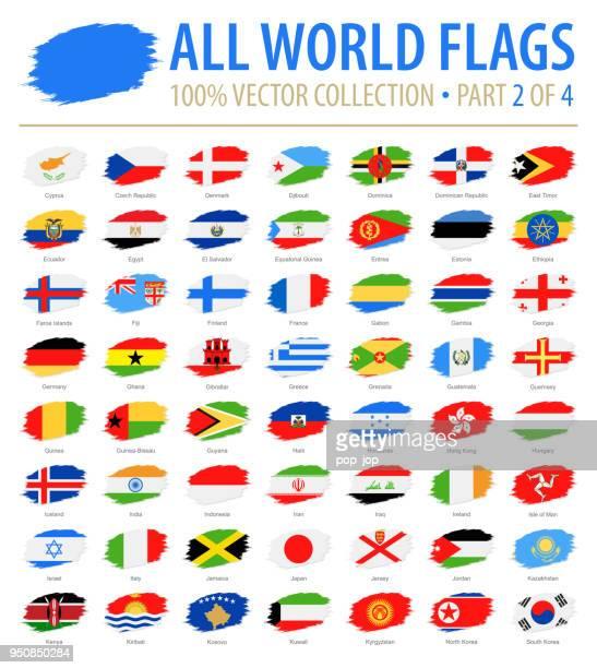 welt-flaggen - vektor-pinsel-grunge flache icons - teil 2 von 4 - flagge von georgien stock-grafiken, -clipart, -cartoons und -symbole