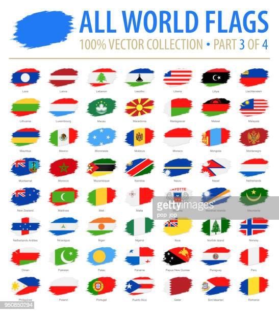 welt-flaggen - vektor-pinsel-grunge flache icons - teil 3 von 4 - polnische flagge stock-grafiken, -clipart, -cartoons und -symbole