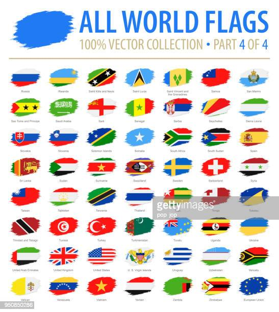 world flags - vector brush grunge flat icons - part 4 of 4 - all european flags stock illustrations