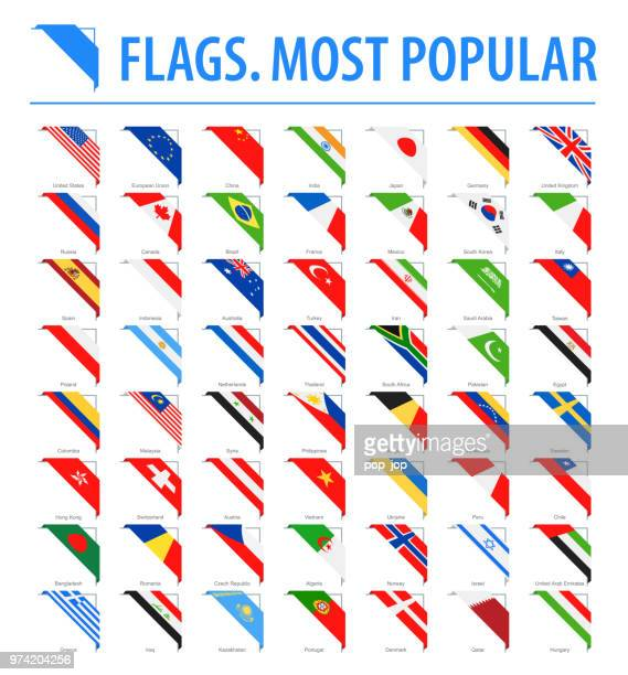 world flags - vector corner flat icons - most popular - corner stock illustrations
