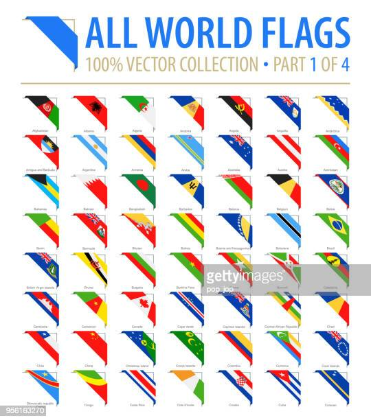 world flags - vector corner flat icons - part 1 of 4 - corner stock illustrations