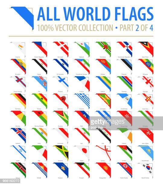 world flags - vector corner flat icons - part 2 of 4 - corner stock illustrations
