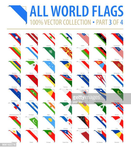 world flags - vector corner flat icons - part 3 of 4 - corner stock illustrations