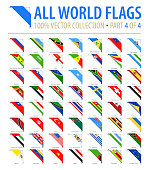 World Flags - Vector Corner Flat Icons - Part 4 of 4