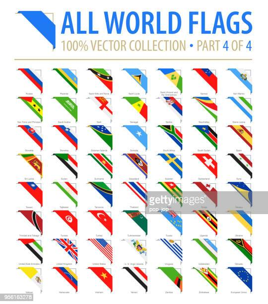 world flags - vector corner flat icons - part 4 of 4 - national flag stock illustrations