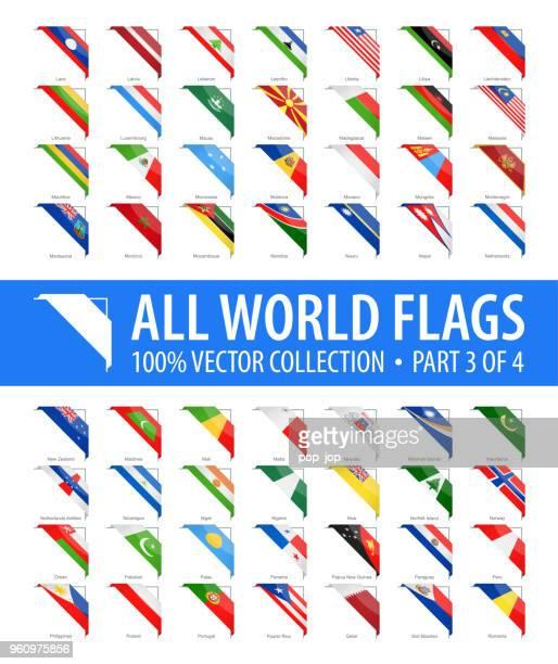 welt-flaggen - vektor-ecke glänzend icons - teil 3 von 4 - montenegro stock-grafiken, -clipart, -cartoons und -symbole