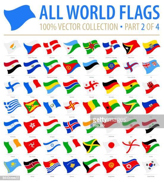 welt-flaggen - vector fliegen flach icons - teil 2 von 4 - flagge von georgien stock-grafiken, -clipart, -cartoons und -symbole