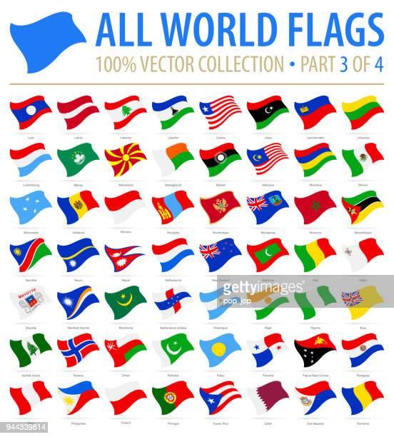 welt-flaggen - vector fliegen flach icons - teil 3 von 4 - russische flagge stock-grafiken, -clipart, -cartoons und -symbole