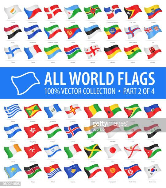 world flags - vector flying glossy icons - part 2 of 4 - national flag stock illustrations, clip art, cartoons, & icons