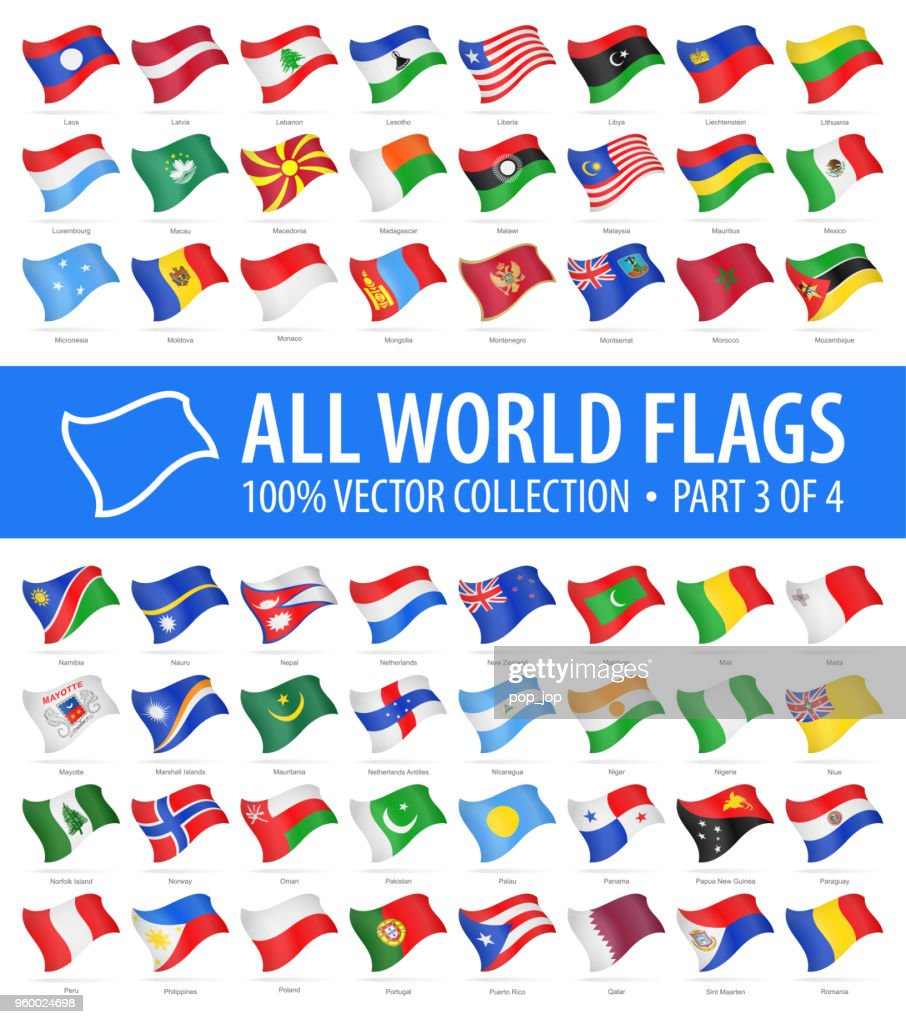 World Flags - Vector Flying Glossy Icons - Part 3 of 4 : stock illustration