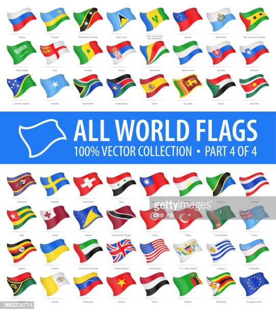 world flags - vector flying glossy icons - part 4 of 4 - national flag stock illustrations, clip art, cartoons, & icons