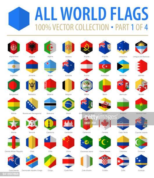 ilustraciones, imágenes clip art, dibujos animados e iconos de stock de mundo banderas - vectores hexágono plano iconos - parte 1 de 4 - bandera argentina