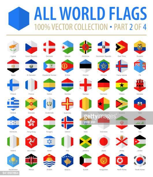 welt-flaggen - vektor hexagon flach-icons - teil 2 von 4 - flagge von georgien stock-grafiken, -clipart, -cartoons und -symbole