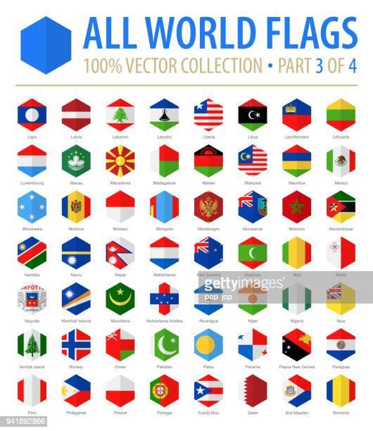 welt-flaggen - vektor hexagon flach-icons - teil 3 von 4 - polnische flagge stock-grafiken, -clipart, -cartoons und -symbole