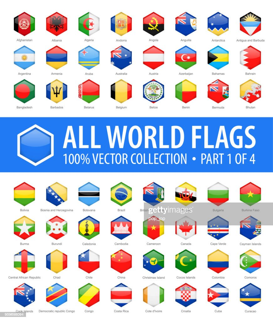 World Flags Vector Hexagon Glossy Icons Part 1 Of 4 stock